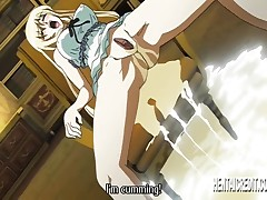 Busty blonde hentai gets caught and tied up and made to cum