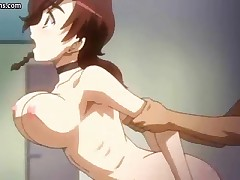 Really busty redhead anime gets groped and has her tits squeezed