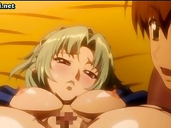 Busty blonde anime babe gets drilled hard with a messy cumshot