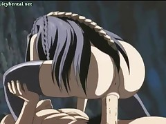 Anime babe with nice tits eats his cock and then gets nailed
