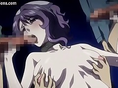 Purple-haired hentai beauty brings a pair of pricks to orgasm