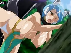 Blue-haired alien hentai chick with big boobs gets her face covered in cum