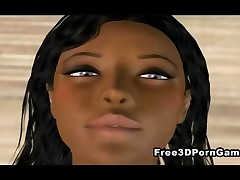 3D cartoon ebony honey takes her clothes off