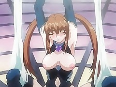 Tied up anime lesbian cumming